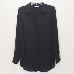 Anthropologie Pleione Blouse Sheer Button Down Med